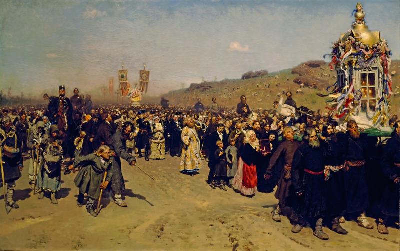 Schilderijbehang - Processie in Koersk