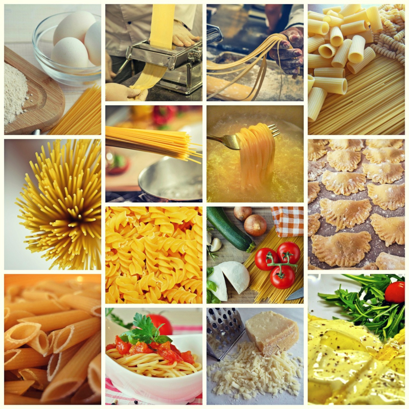 Fotobehang - Eten - Pasta collage
