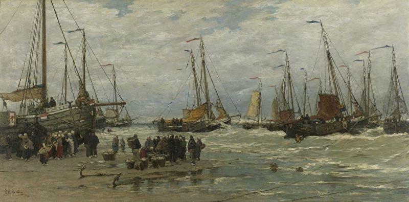 Schilderijbehang  H.W. Mesdag - Pinken in de Branding
