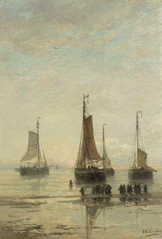 Schilderijbehang  H.W. Mesdag - Scheveningse Bommen voor Anker