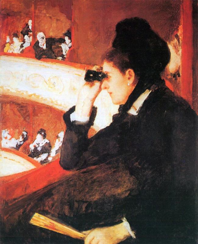 Schilderijbehang - Cassatt - In the loge ( opera )