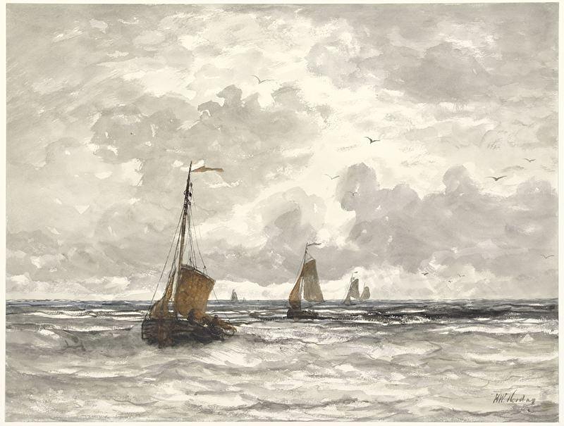 Schilderijbehang  H.W. Mesdag - Vissersschepen in de Branding