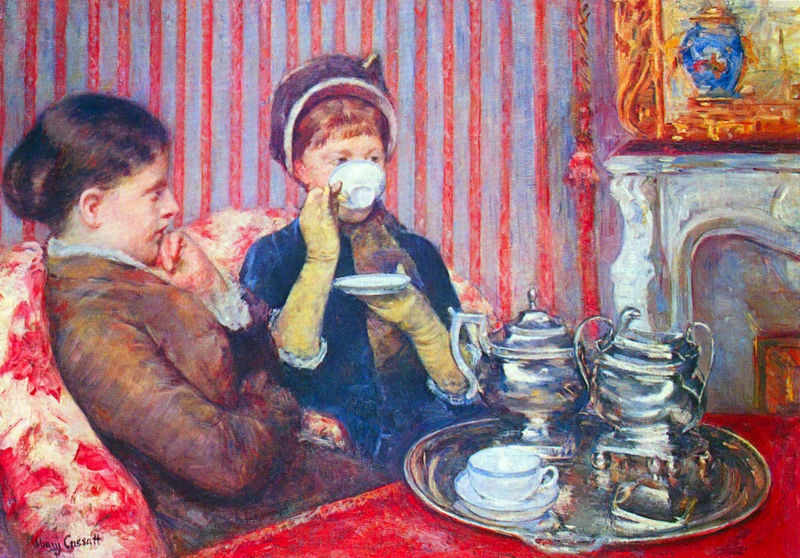 Schilderijbehang - Cassat - A cup of tea