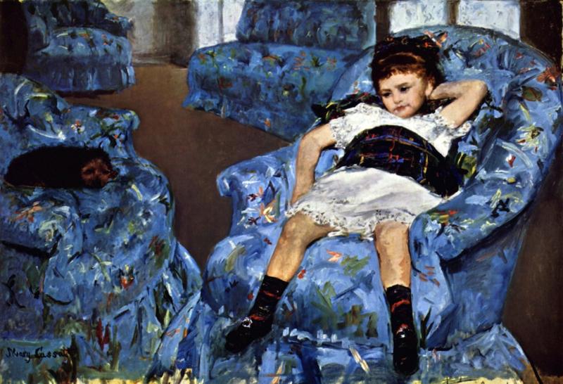 Schilderijbehang - Cassatt - Small girl in the blue armchair