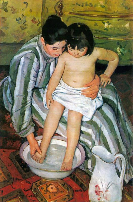 Schilderijbehang - Cassatt - The Bath
