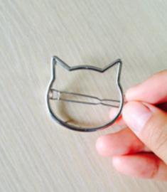 "Haarclip ""Kitty"", zilver"