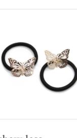 Elastiek met vlinder, goud
