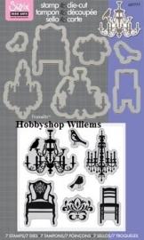 Sizzix/ Stamp &Die - cut  Stempelen en uitsnijden Chairs And Chandeliers art.657777 voorraad 1x