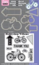 Sizzix/ Stamp &Die - cut  Stempelen en uitsnijden On The Go Bike art.VC657782 op voorraad