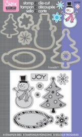 Sizzix/ Stamp &Die - cut  Stempelen en uitsnijden Joy Snowman art.VC657781 voorraad1x