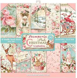 Stamperia  paper pad Pink Christmas 30,5x30,5cm art. SBBL46