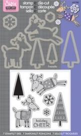 Sizzix/ Stamp &Die - cut  Stempelen en uitsnijden Holiday Cheer art.VC 657780