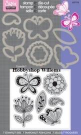 Sizzix/ Stamp &Die - cut  Stempelen en uitsnijden Playful Flowers And Butterflies art.VC657778 op voorraad