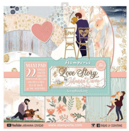Stamperia paperpad XL zijn 22 vellen Love story 30,5x30,5cm art. SBBXL07