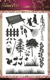 Janine's art clearstamp JACS 10001 garden classics collection