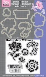 Sizzix/ Stamp &Die - cut  Stempelen en uitsnijden floral art. VC 657776 op voorraad 2x