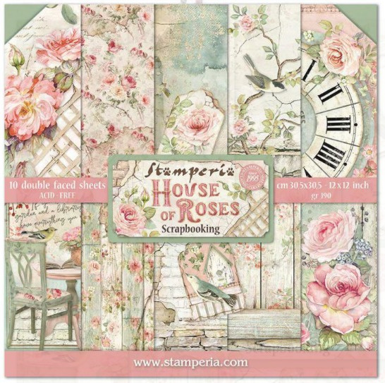 Stamperia paperpad house off roses 30,5x30,5cm art. SBBL66