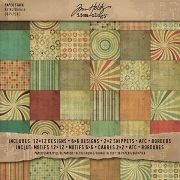 Paper block Tim Holtz   Retro Grungru   30,5x30,5 uit de serie Idea - Ology Collection voorraad 3x