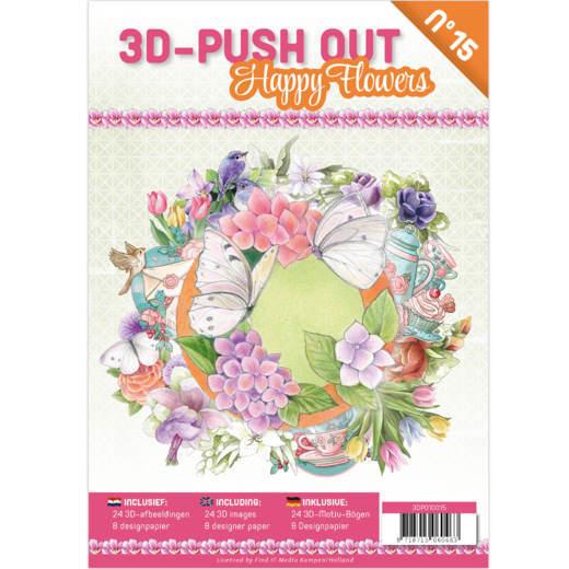 3-D Push out no 15 art. 3DPO10015 Happy Flowers