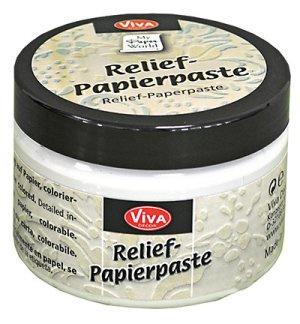 Vivadecor Relief papier pasta 150 ml kleur antiek wit.
