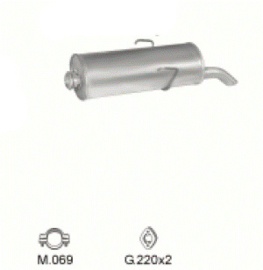 Einddemper Citroen Saxo 1.1B - 1.4B 02-2000 tm 11-2004 (21)