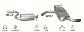 Complete Uitlaat Audi A3 1.6 2003 tm 09-2007 (2270)