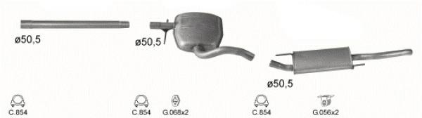 Complete uitlaat Volkswagen Golf 3 variant 2.0 08/1993 - 04/1999 (2229)