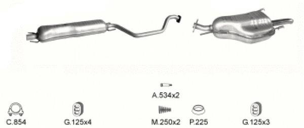 Complete Uitlaat Opel Zafira 1.6 / 1.8. / 2.2  (flensverbinding) (72)