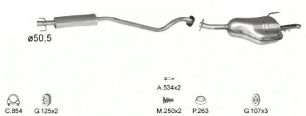 Complete Uitlaat Opel Astra G 1.6 Combi (77)