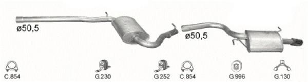 Complete Uitlaat Audi A4 2.0 2000 tm 06-2008 (2267)