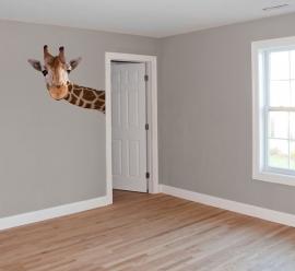 Wandaufkleber mit großer Giraffe