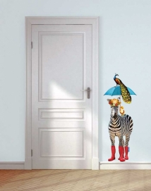 Wall decal Zebra with umbrella