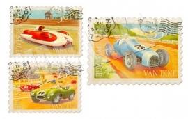 Retro postzegels auto