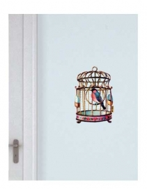 Decal of a pink bird cage