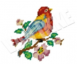 Geborduurde vogel XL