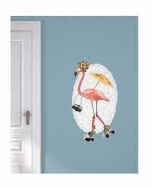 Wall decal Flamingo on Roller skates