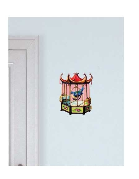 Wall decal pink birdcage