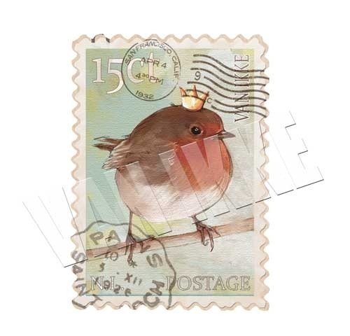 Postzegel roodborstje
