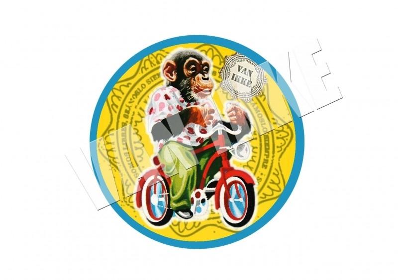 Affe auf einem Fahrrad XS