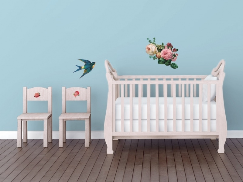 Wall decal set of flowers and a swallow