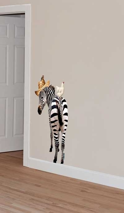 Wall decal Zebra with hat