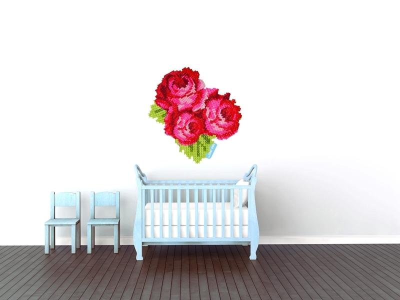 Wandaufkleber mit Rosen