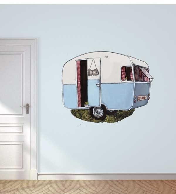 Muursticker caravan