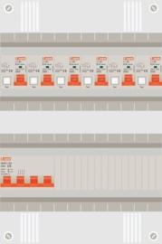 3 fase groepenkast met 6 aardlekautomaten
