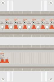 1 fase groepenkast met 6 aardlekautomaten