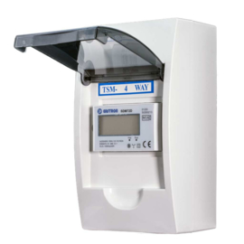 3 fase LCD modulaire kwh meter 100A in 4 modulen kast (tot max. 63A)