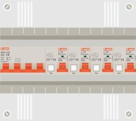 3 fase groepenkast met 4 aardlekautomaten