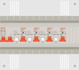 1 fase groepenkast met 4 aardlekautomaten