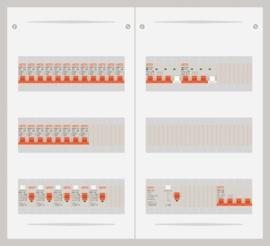 15.372.2002.40 - 3 fase 40A groepenkast-veldverdeler met 20 groepen en 2 krachtgroepen