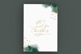 Kerstkaart met gouddruk - All I want for Christmas is you